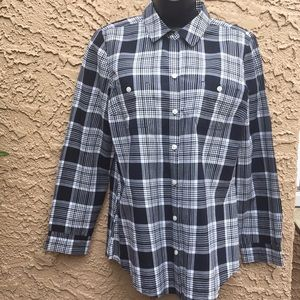 *Old Navy* Black and White Plaid Shirt